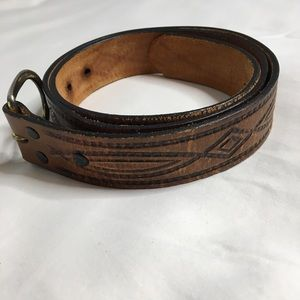 Men's Leather Tooled Belt Topgrain Leather USA